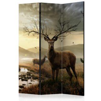 Paraván Deers by mountain stream Dekorhome 135x172 cm (3-dílný)