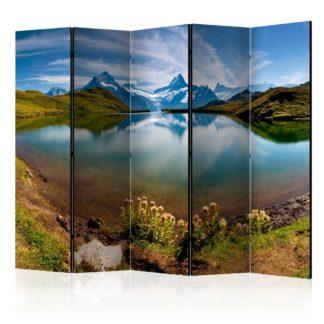 Paraván Lake with mountain reflection Switzerland Dekorhome 225x172 cm (5-dílný)