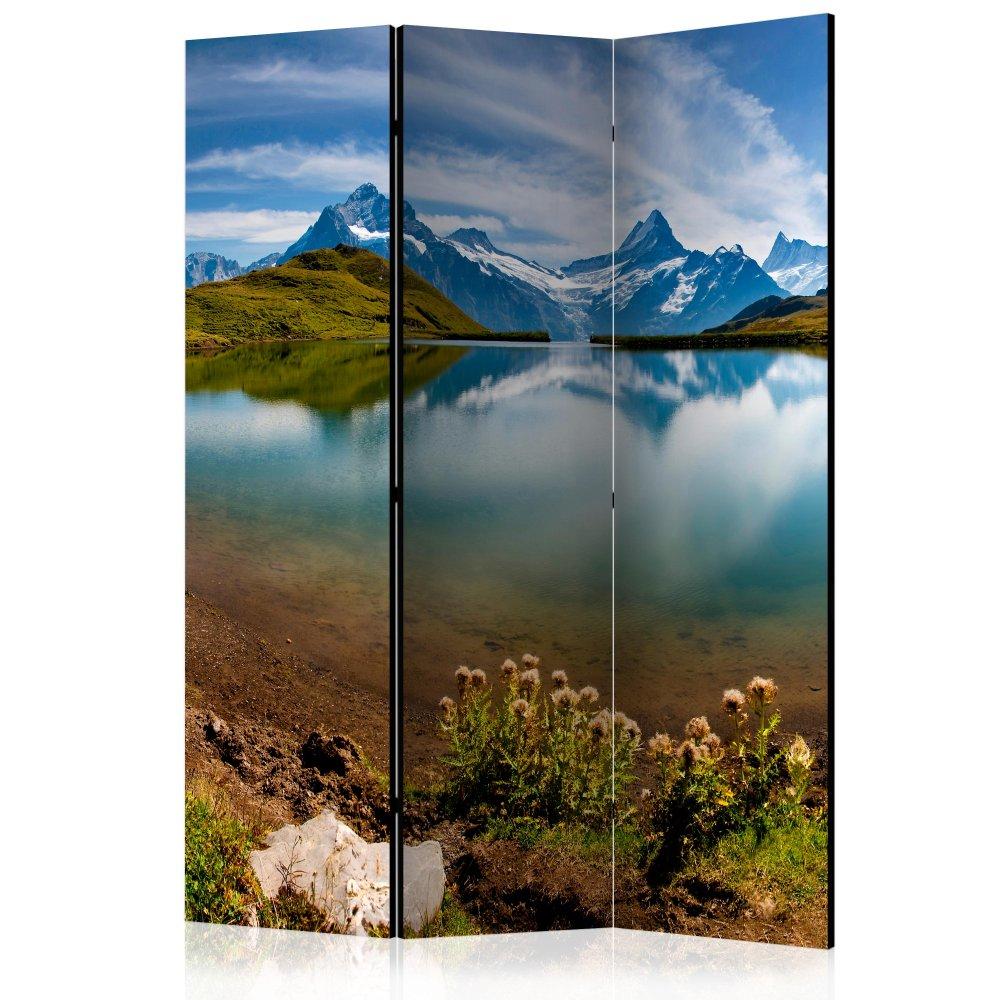 Paraván Lake with mountain reflection Switzerland Dekorhome 135x172 cm (3-dílný)