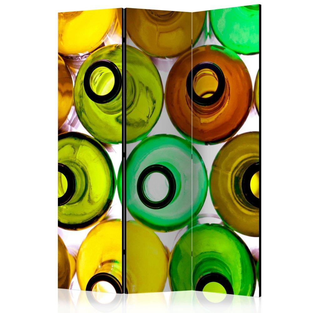 Paraván Bottles (background) Dekorhome 135x172 cm (3-dílný)