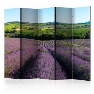 Paraván Lavender fields Dekorhome 225x172 cm (5-dílný)