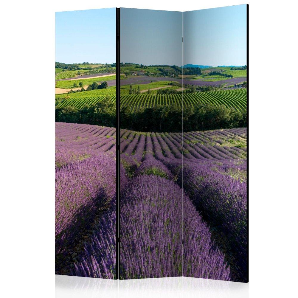 Paraván Lavender fields Dekorhome 135x172 cm (3-dílný)