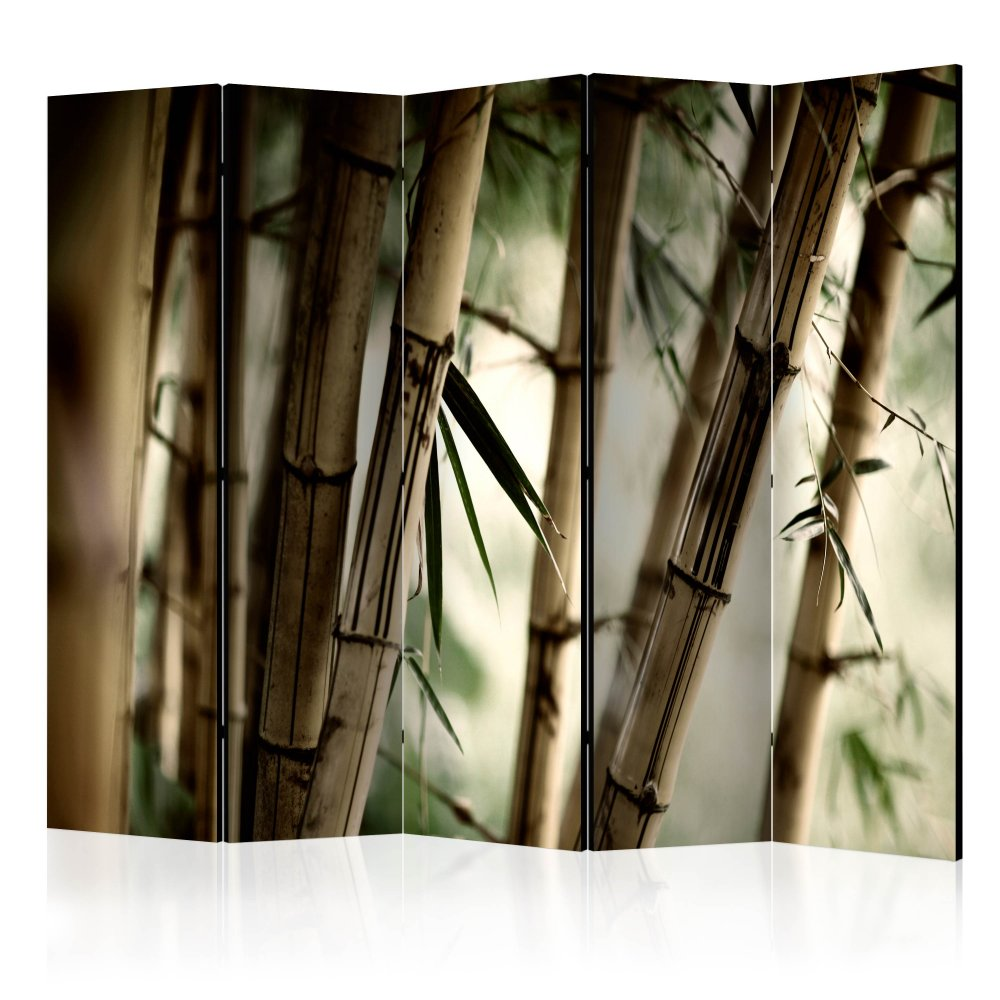 Paraván Fog and bamboo forest Dekorhome 225x172 cm (5-dílný)
