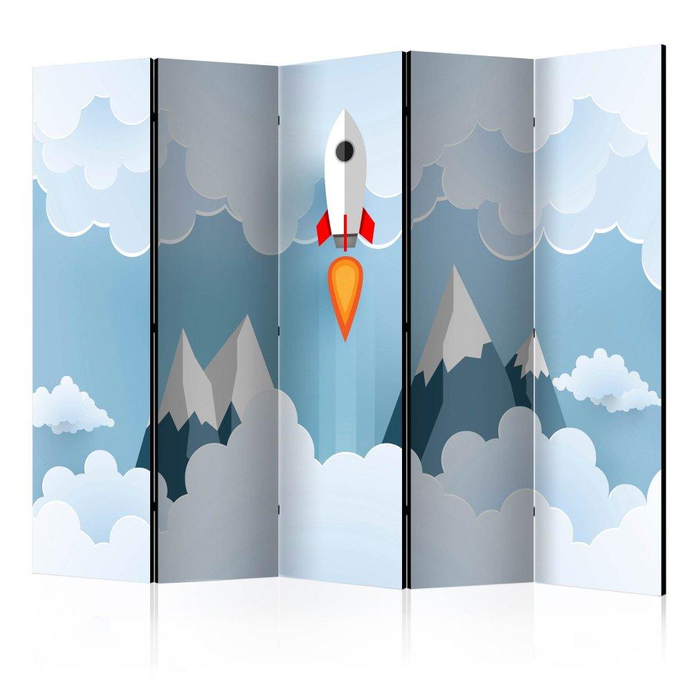 Paraván Rocket in the Clouds Dekorhome 225x172 cm (5-dílný)