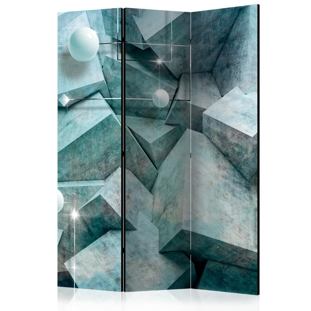 Paraván Concrete Cubes (Green) Dekorhome 135x172 cm (3-dílný)