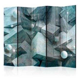 Paraván Concrete Cubes (Green) Dekorhome 225x172 cm (5-dílný)