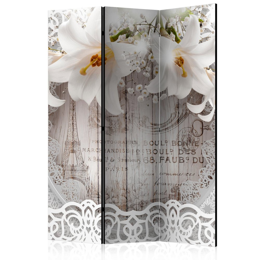 Paraván Lilies and Quilted Background Dekorhome 135x172 cm (3-dílný)