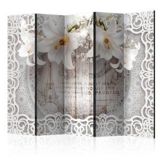 Paraván Lilies and Quilted Background Dekorhome 225x172 cm (5-dílný)