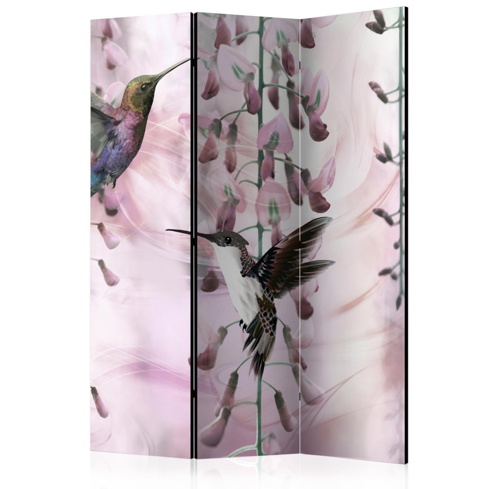 Paraván Flying Hummingbirds (Pink) Dekorhome 135x172 cm (3-dílný)