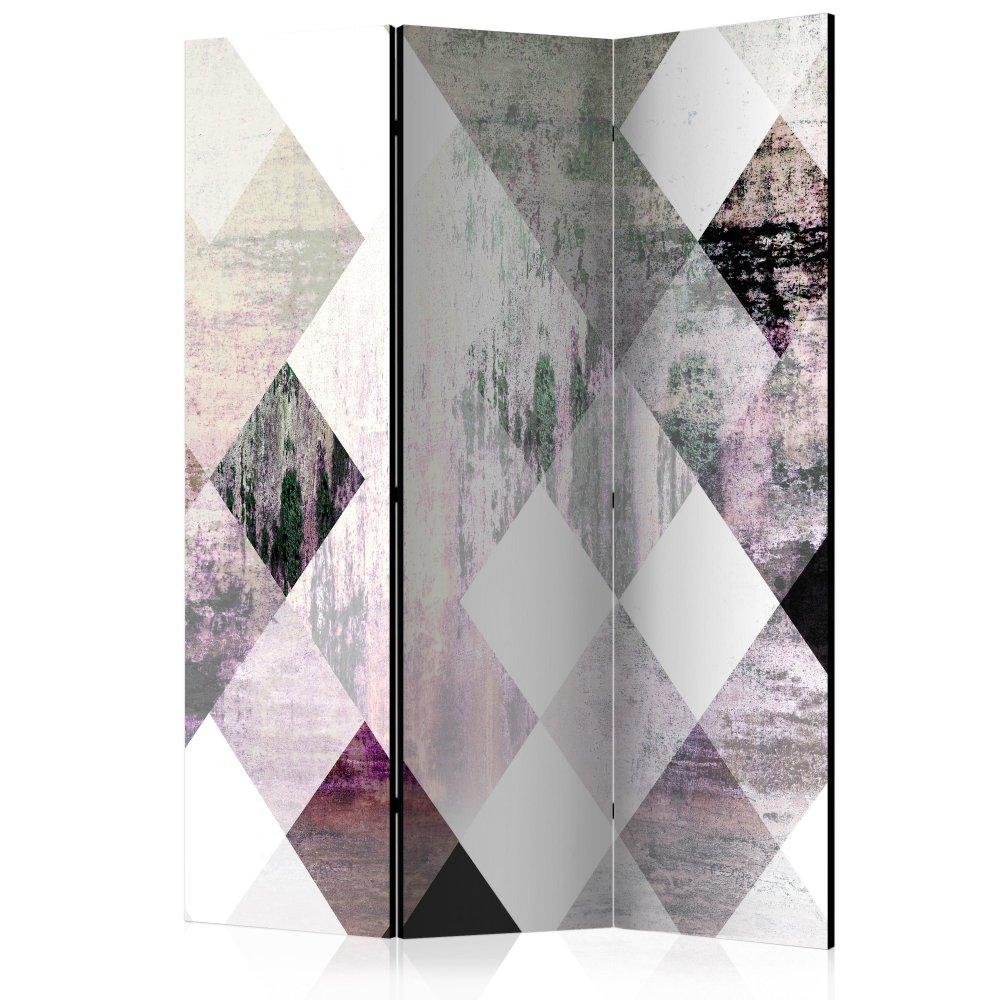 Paraván Rhombic Chessboard (Pink) Dekorhome 135x172 cm (3-dílný)