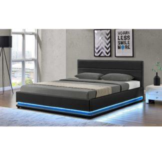 Manželská postel s LED osvětlením BIRGET NEW černá Tempo Kondela 180 x 200 cm
