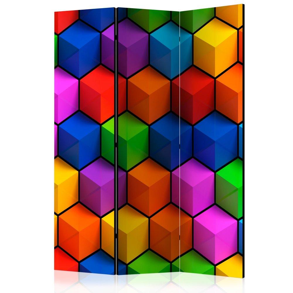 Paraván Colorful Geometric Boxes Dekorhome 135x172 cm (3-dílný)