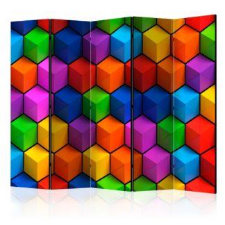 Paraván Colorful Geometric Boxes Dekorhome 225x172 cm (5-dílný)