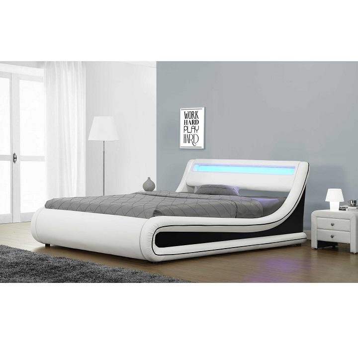 Manželská postel s LED osvětlením MANILA NEW bílá / černá Tempo Kondela 183 x 200 cm