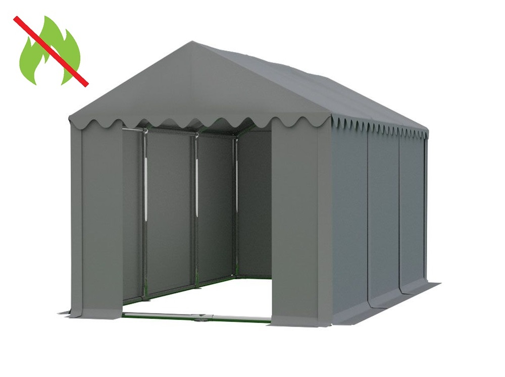 Skladový stan 4x6m PROFI - nehořlavý Šedá