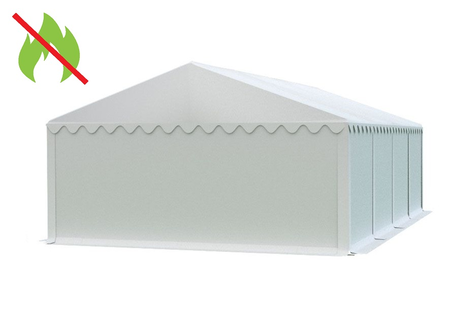 Skladový stan 6x8m bílá EKONOMY - nehořlavý