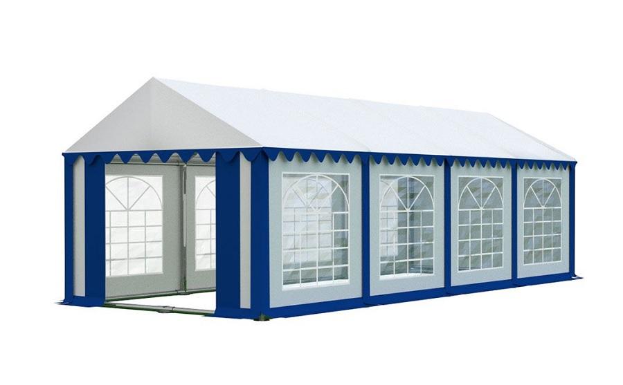 Zahradní párty stan 4x8m PREMIUM Bílá / modrá