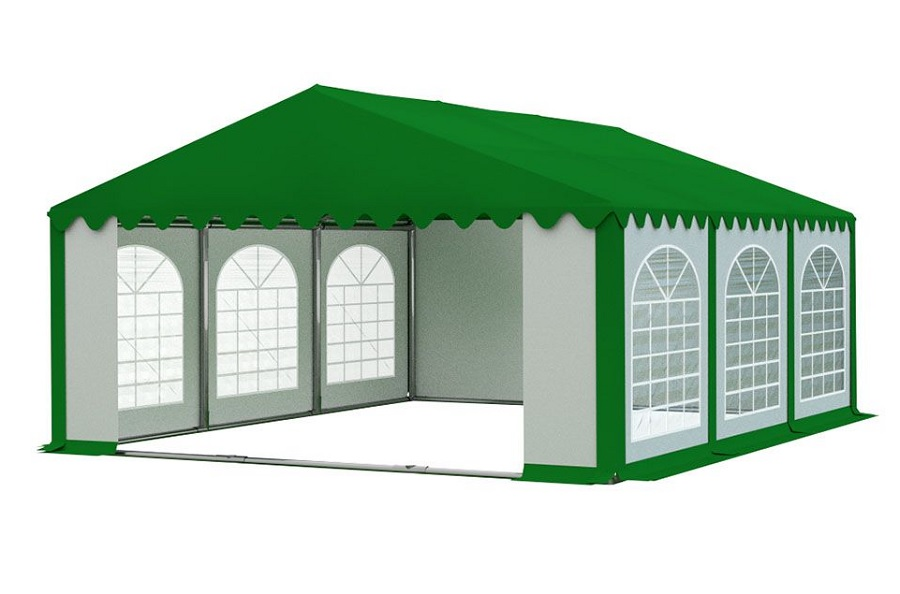 Zahradní párty stan 5x6m PREMIUM Bílá / zelená (střecha zelená)