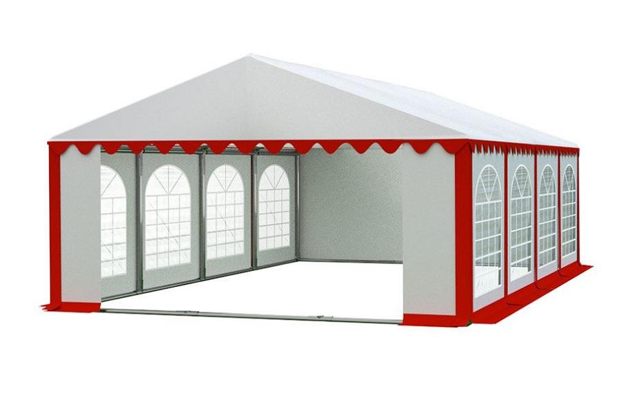 Zahradní párty stan 5x8m PREMIUM Bílá / červená