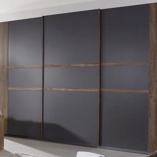 Šatní skříň Bernau, 271 cm, dub stirling/šedá, posuvné dveře
