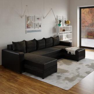 Rohová sedačka FUGAZI, černá/černá ekokůže
