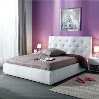 JASMINE, postel 140x200, bílá ekokůže