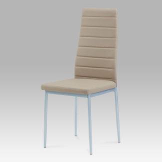 Jídelní židle, koženka cappuccino / šedý lak, DCL-117 CAP