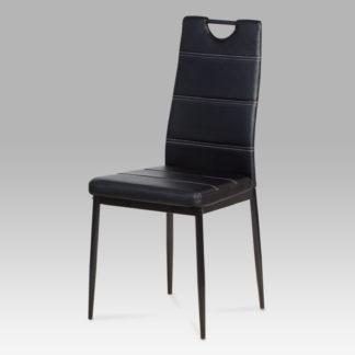 Jídelní židle, koženka černá / černý lak AC-1220 BK