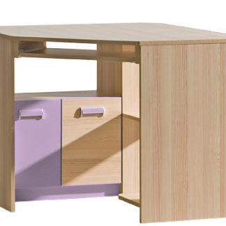 LORENTO, rohový stůl L11, jasan/fialová