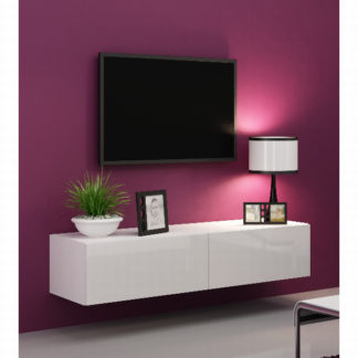 "Televizní stolek VIGO ""140"" plná dvířka, bílá/bílý lesk"