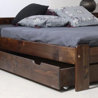 Úložný prostor pod postel 150 cm, masiv borovice/moření ořech