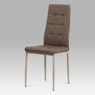 Jídelní židle DCL-397 CRM2, látka cappuccino/kov matný cappuccino