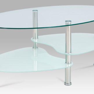 Konferenční stolek GCT-301 MIL1, čiré sklo / mléčné sklo / leštěný nerez