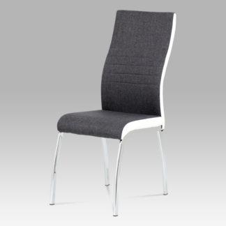 Jídelní židle DCL-433 GREY2, šedá látka + bílá koženka / chrom