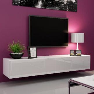 "Televizní stolek VIGO ""180"" plná dvířka, bílá/bílý lesk"