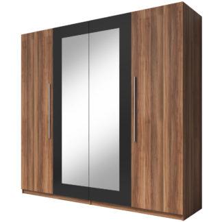 VERA skříň se zrcadlem, červený ořech/černá