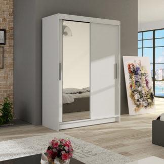 Šatní skříň MIAMI VI, bílý mat/zrcadlo