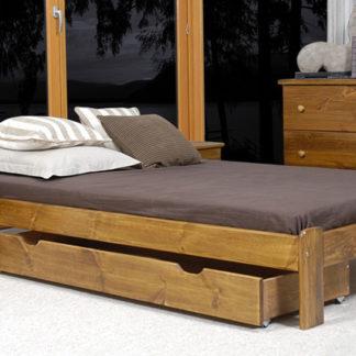 Úložný prostor pod postel 150 cm, masiv borovice/moření dub