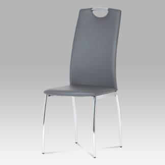 Jídelní židle DCL-419 GREY, koženka šedá / chrom