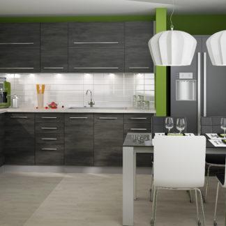Rohová kuchyně SILVER+ 200x250 cm, korpus grey, black pine