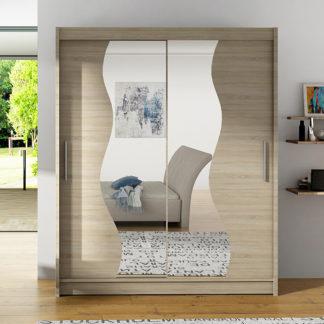 Šatní skříň BEGA S, dub sonoma/zrcadlo