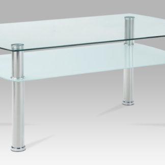 Konferenční stolek GCT-303 CLR1, čiré sklo / mléčné sklo / leštěný nerez