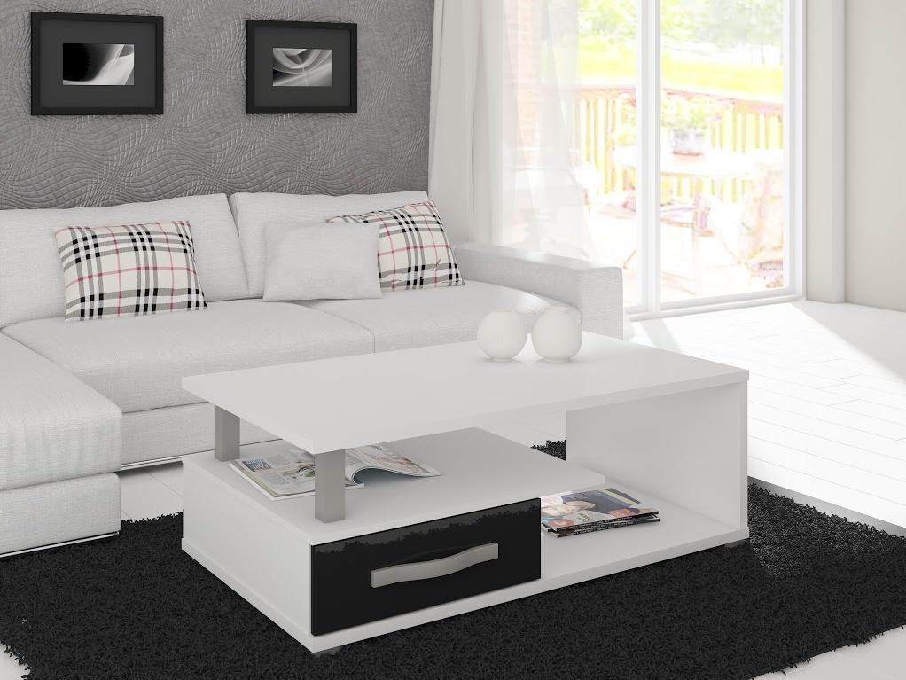 ANGEL konferenční stolek, bílá/černý lesk