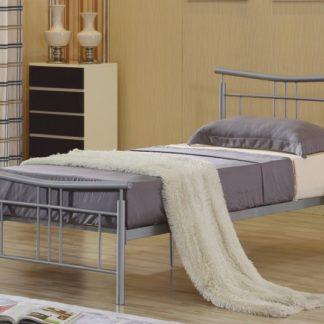 DORADO kovová postel s roštem 90x200 cm, stříbrný kov