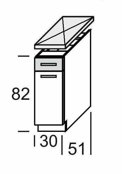 KAMDUO, dolní skříňka DUO DS3/1, dub sonoma/láva