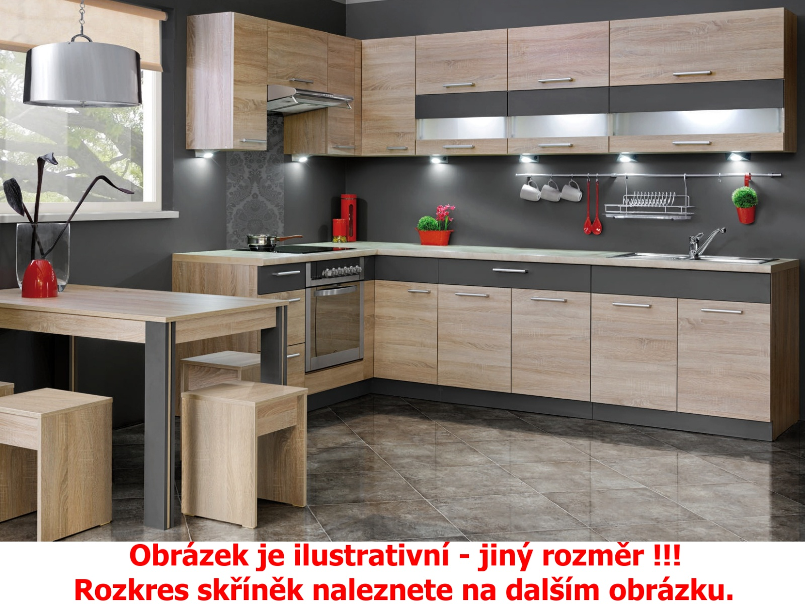 Kuchyně KAMDUO 210-Z8, dub sonoma/láva