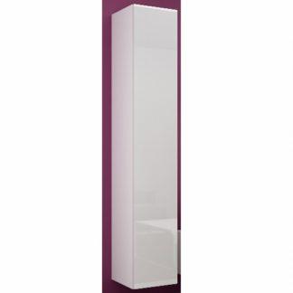 Závěsná vitrína VIGO 180 cm plná dvířka, bílá/bílý lesk