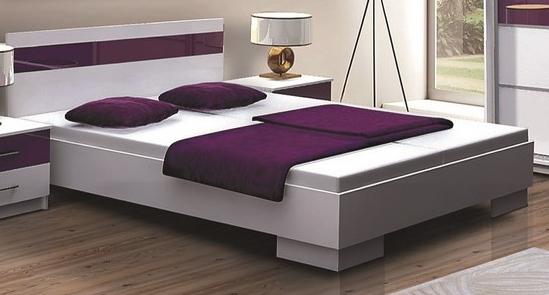 DUBAJ, postel 160x200 cm, bílá/fialové sklo