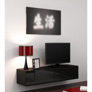 """Televizní stolek VIGO """"140"""" plná dvířka, černá/černý lesk"""