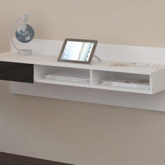 Designový psací stůl UNO, bílá/černý lesk